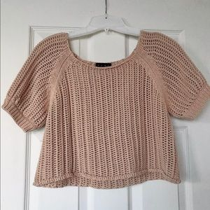 TCEC Tan Knitted Crop Sweater